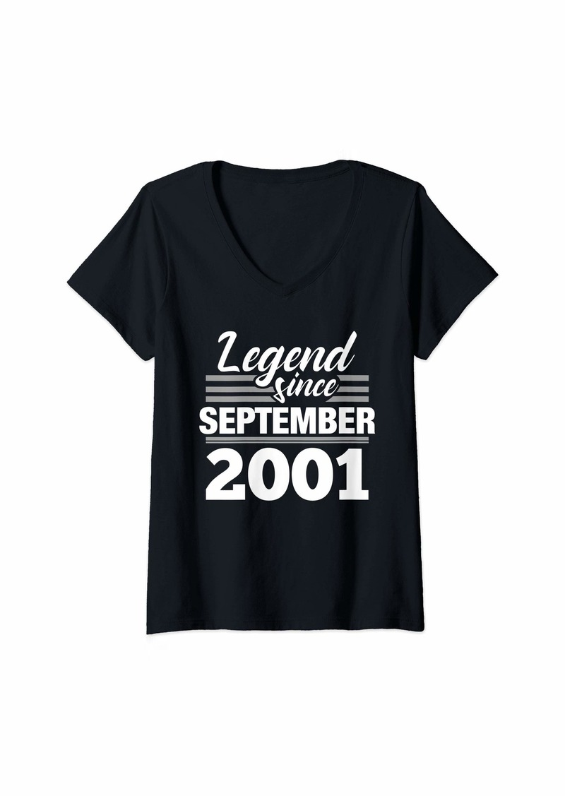 Born Womens 18th Birthday Gift Legend Since September 2001 V-Neck T-Shirt