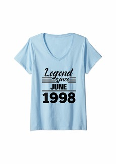 Born Womens 21st Birthday Gift Legend Since June 1998 V-Neck T-Shirt