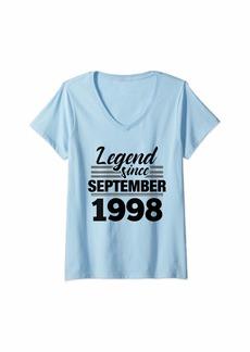 Born Womens 21st Birthday Gift Legend Since September 1998 V-Neck T-Shirt
