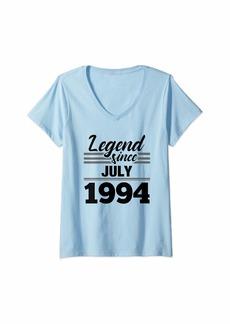 Born Womens 25th Birthday Gift Legend Since July 1994 V-Neck T-Shirt