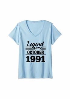 Born Womens 28th Birthday Gift Legend Since October 1991 V-Neck T-Shirt