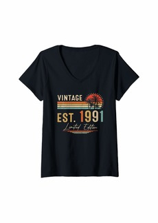 Born Womens 30 Year Old Gifts Vintage 1991 Limited Edition 30th Birthday V-Neck T-Shirt