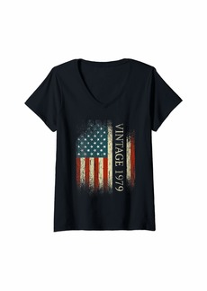 Born Womens 40th Birthday Gifts Vintage 1979 Usa Flag 40 Year Old Bday V-Neck T-Shirt