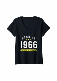 Womens Born in 1966 - Year of Legends & Birthday Gift V-Neck T-Shirt