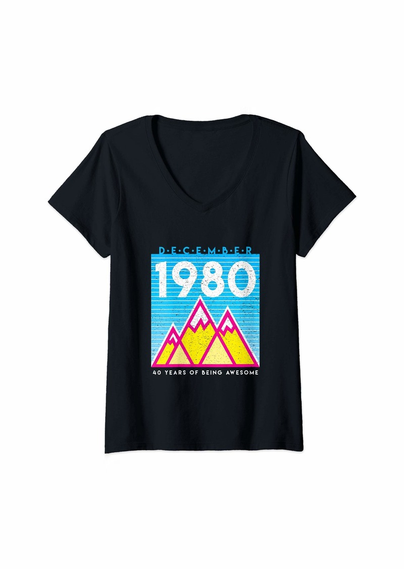 Womens Born in December 1980 Awesome 40th Birthday Graphic V-Neck T-Shirt