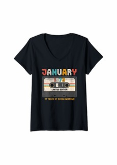 Womens Born January 1973 Limited Edition Bday Gifts 46th Birthday V-Neck T-Shirt