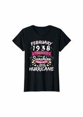 Born Womens FEBRUARY 1938 Girl 82 Years Being Sunshine Mixed Hurricane T-Shirt