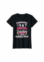 Born Womens FEBRUARY 1987 Girl 33 Years Being Sunshine Mixed Hurricane T-Shirt