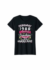Born Womens FEBRUARY 1988 Girl 32 Years Being Sunshine Mixed Hurricane T-Shirt
