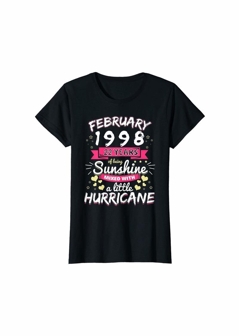Born Womens FEBRUARY 1998 Girl 22 Years Being Sunshine Mixed Hurricane T-Shirt