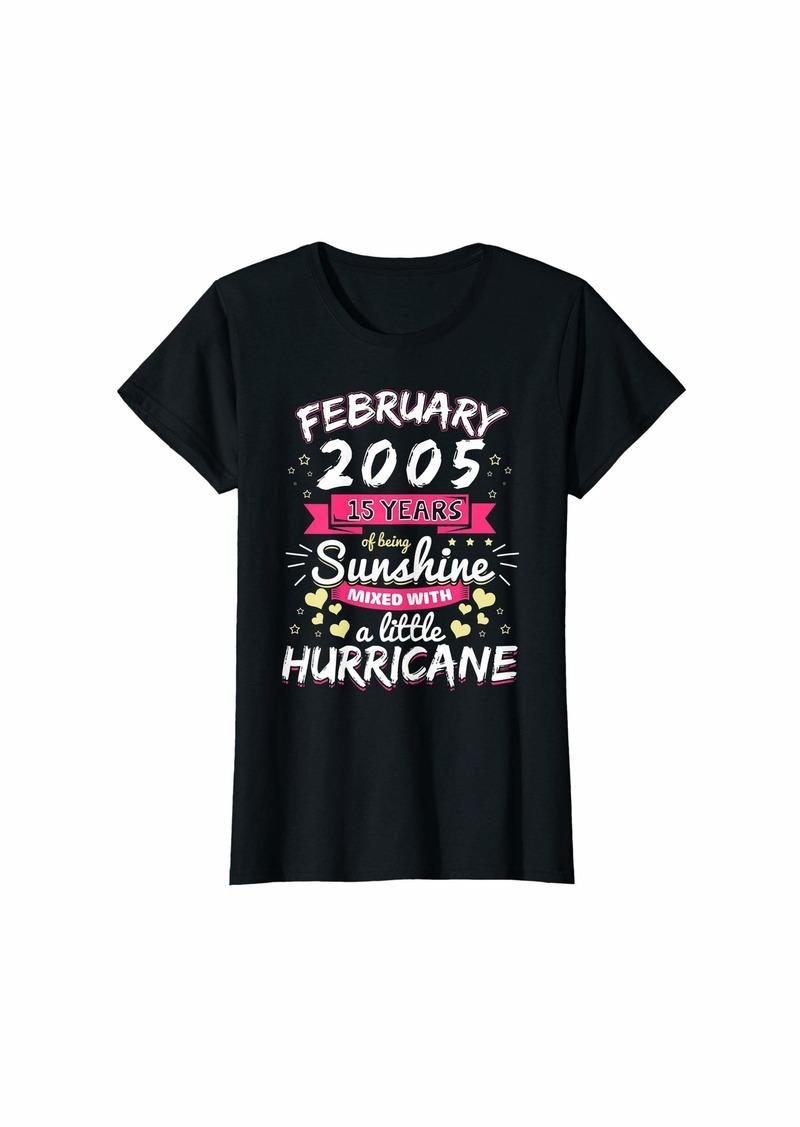 Born Womens FEBRUARY 2005 Girl 15 Years Being Sunshine Mixed Hurricane T-Shirt