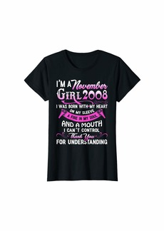 Born Womens I'm A November Girls 2008 11thBirthday Gifts 11 Years Old T-Shirt