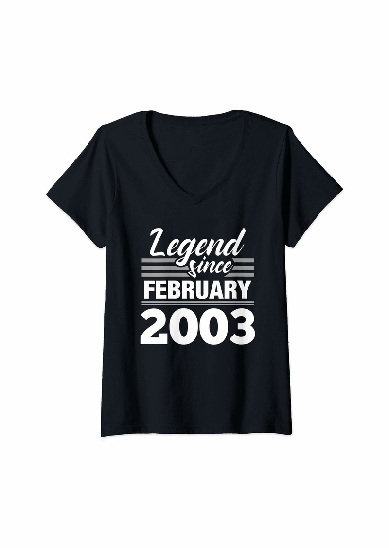 Born Womens Legend Since February 2003 - 17 Year Old Gift 17th Birthday V-Neck T-Shirt
