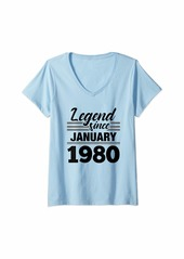 Born Womens Legend Since January 1980 - 40 Year Old Gift 40th Birthday V-Neck T-Shirt