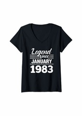 Born Womens Legend Since January 1983 - 37 Year Old Gift 37th Birthday V-Neck T-Shirt