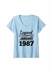 Born Womens Legend Since January 1987 - 33 Year Old Gift 33rd Birthday V-Neck T-Shirt