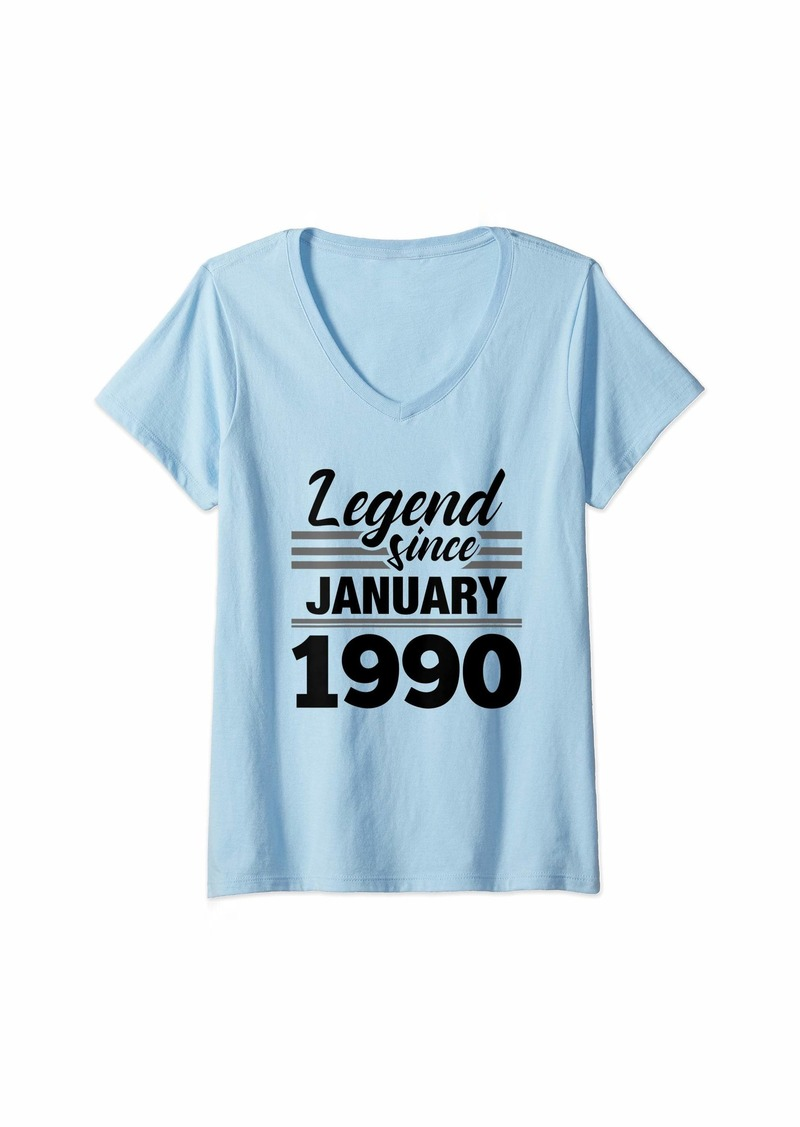 Born Womens Legend Since January 1990 - 30 Year Old Gift 30th Birthday V-Neck T-Shirt