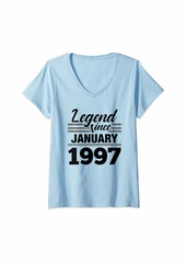 Born Womens Legend Since January 1997 - 23 Year Old Gift 23rd Birthday V-Neck T-Shirt