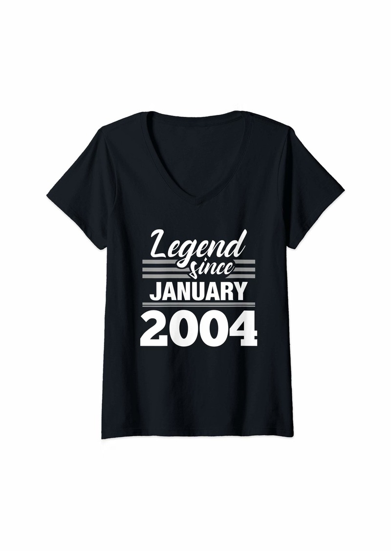 Born Womens Legend Since January 2004 - 16 Year Old Gift 16th Birthday V-Neck T-Shirt