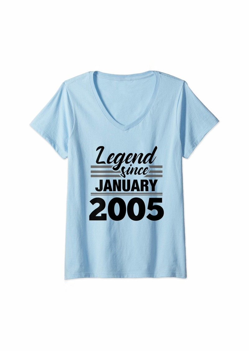 Born Womens Legend Since January 2005 - 15 Year Old Gift 15th Birthday V-Neck T-Shirt