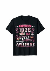 Born Womens November 1936 Floral T-Shirt 83 Years Of Being Awesom T-Shirt