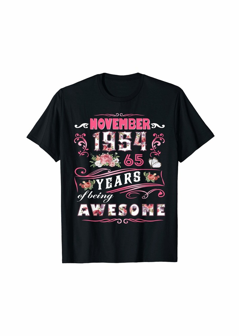 Born Womens November 1954 Floral T-Shirt 65 Years Of Being Awesom T-Shirt