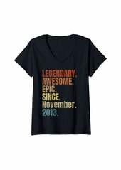 Born Womens Retro Legendary Since November 2013 T Shirt 6 Years Old V-Neck T-Shirt