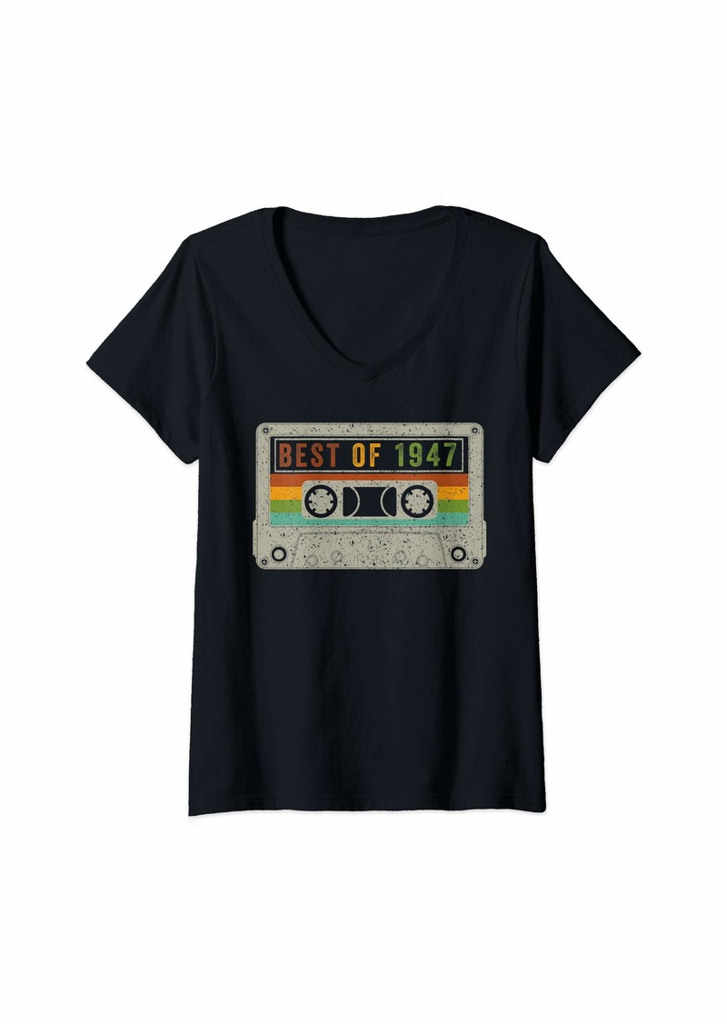 Born Womens Vintage Best Of 1947 72th Birthday Cassette 72 Years Old V-Neck T-Shirt
