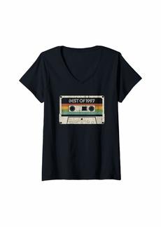 Born Womens Vintage Best of 1997 22nd Birthday Cassette V-Neck T-Shirt