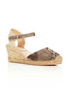 Botkier Elia Glitter Snake-Print Ankle Strap Espadrille Wedge Sandals