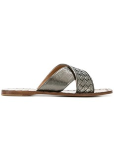 Bottega Veneta argento antique Intrecciato furrow metal ravello sandals