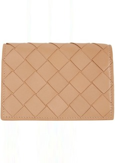 Bottega Veneta Beige Intrecciato Flap Card Holder