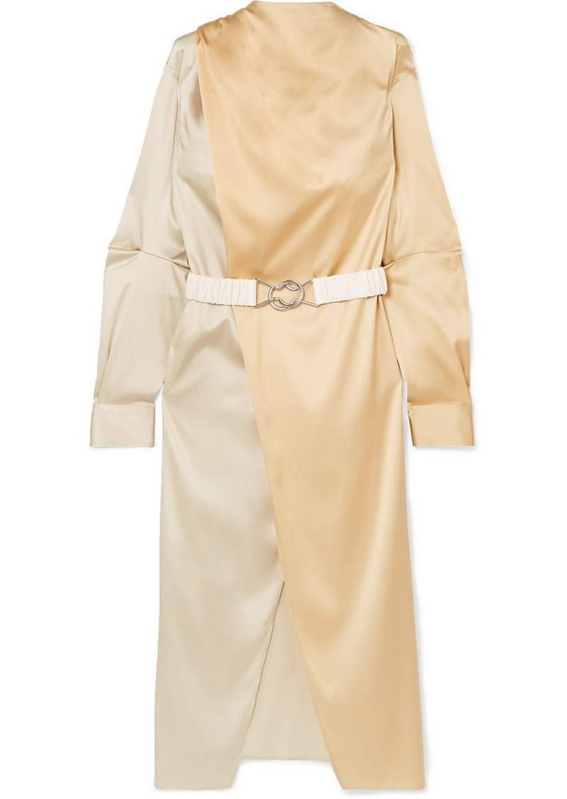 Bottega Veneta Belted Two-tone Stretch-silk Satin Wrap Dress