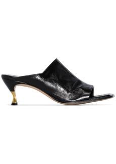 Bottega Veneta black 55 square toe leather mules