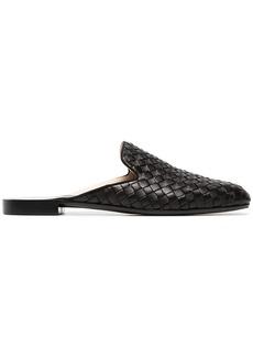 Bottega Veneta black Fiandra backless leather loafers