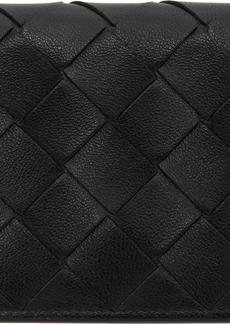 Bottega Veneta Black Intrecciato Bifold Card Holder