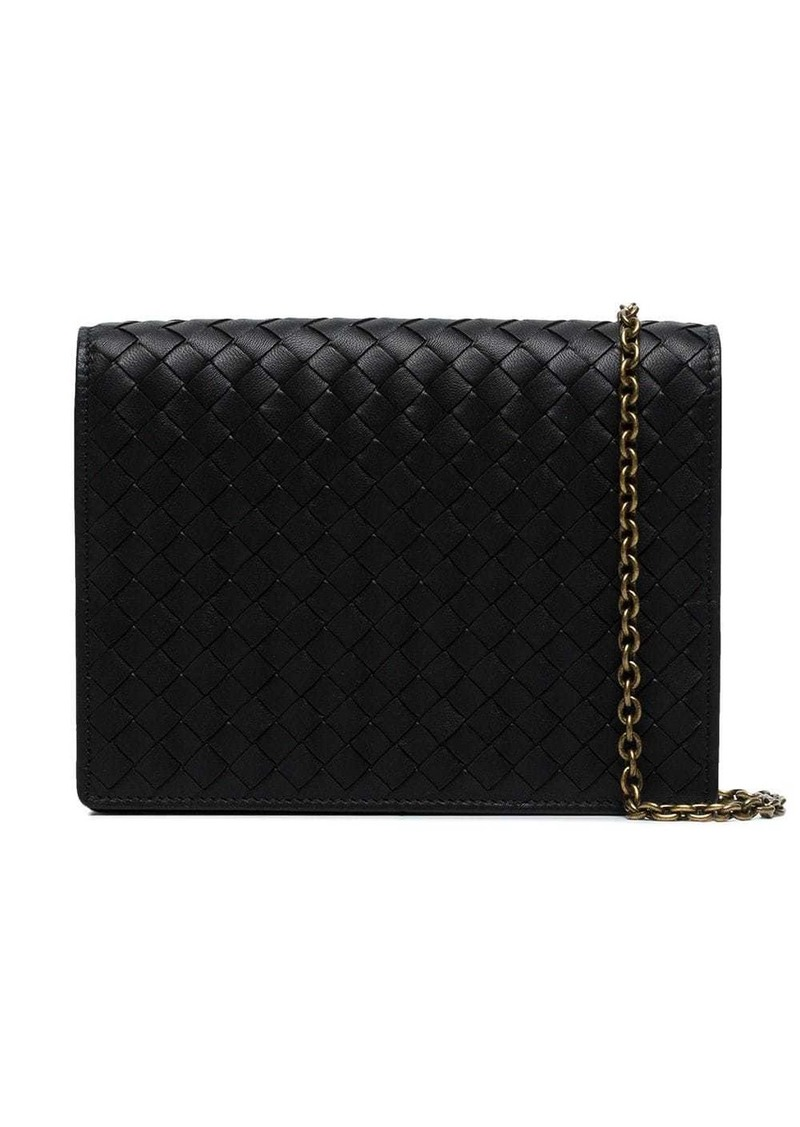 Bottega Veneta black Intrecciato leather wallet on a chain