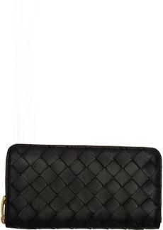 Bottega Veneta Black Intrecciato Zip Wallet