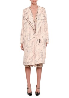Bottega Veneta Botanical-Print Zip-Front Belted Trench Coat