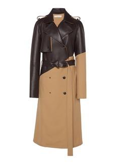 Bottega Veneta - Women's Belted Dual Wool and Leather Trench Coat  - Neutral - Moda Operandi