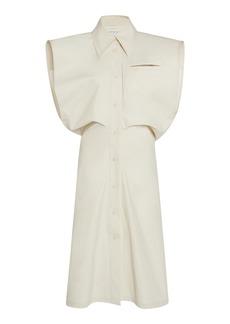 Bottega Veneta - Women's Coated Cotton-Canvas Midi Dress - White - Moda Operandi