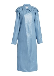 Bottega Veneta - Women's Leather Trench Coat - Blue - Moda Operandi