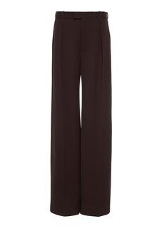 Bottega Veneta - Women's Mid-Rise Wool Pleated Wide-Leg Trouser - Brown - Moda Operandi