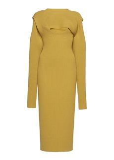 Bottega Veneta - Women's Ribbed Knit Cutout Midi Dress - Yellow - Moda Operandi