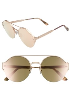 Bottega Veneta 54mm Round Semi-Rimless Sunglasses