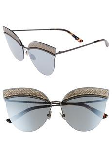 Bottega Veneta 64mm Semi-Rimless Cat Eye Sunglasses