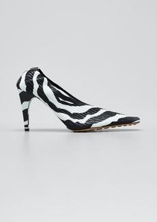 Bottega Veneta 85mm Zebra Crunch Leather Square-Toe Pumps