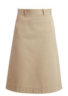 Bottega Veneta Back-button A-line cotton skirt