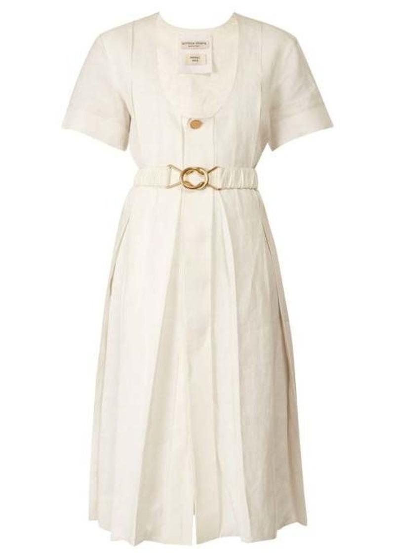 Bottega Veneta Belted pleated midi dress