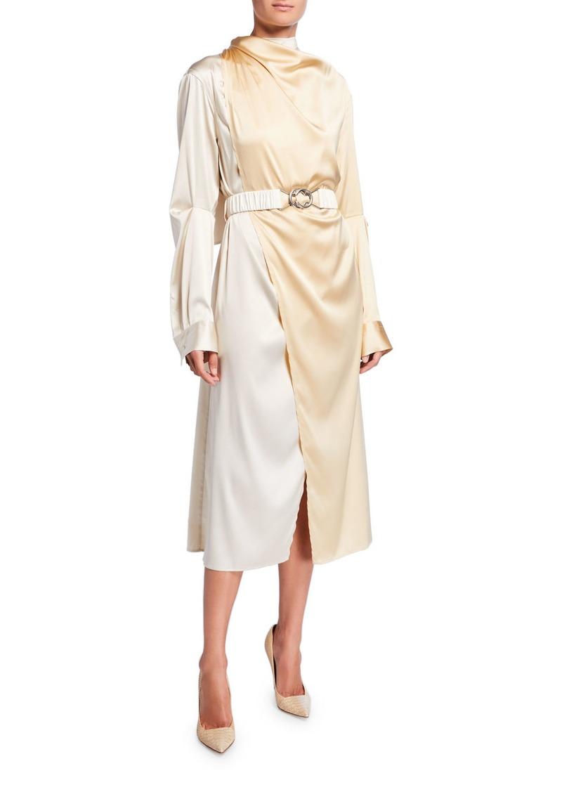 Bottega Veneta Bicolor Wrapped Silk Dress
